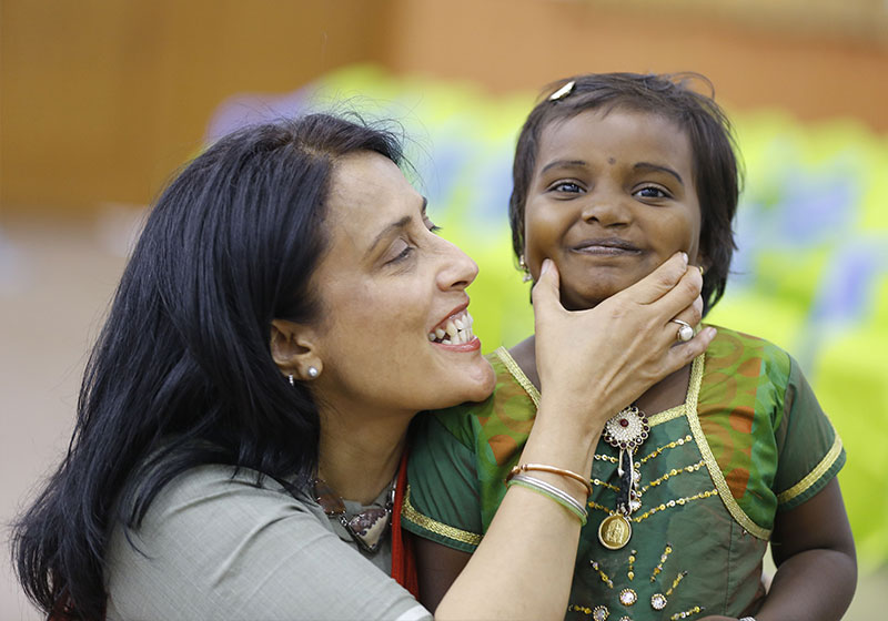 Mamta plays with a Smile Train patient