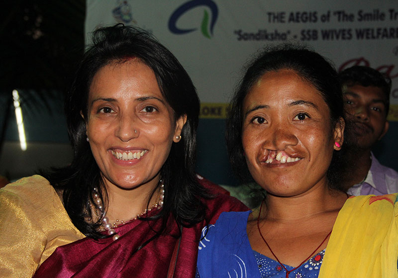 Mamta with an adult Smile Train patient before their surgery